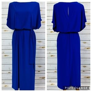 Tiana B. Belted Waist Short Sleeve Midi Dress